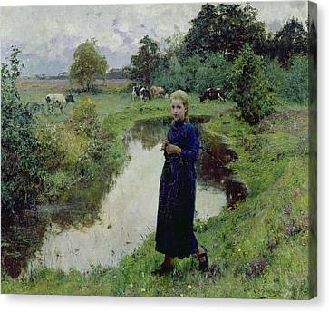 Young Girl In The Fields Canvas Print by Evariste Carpentier