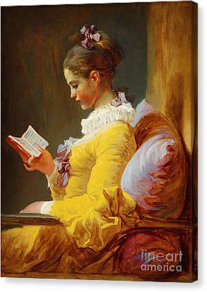 Young Girl Reading Canvas Print by Celestial Images