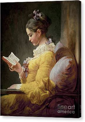 Young Girl Reading Canvas Print by JeanHonore Fragonard