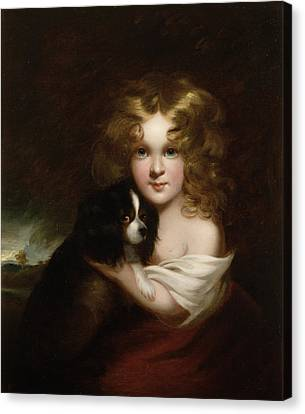 Young Girl With A Dog Canvas Print by Margaret Sarah Carpenter