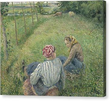 Young Peasant Girls Resting In The Fields Near Pontoise Canvas Print by Camille Pissarro