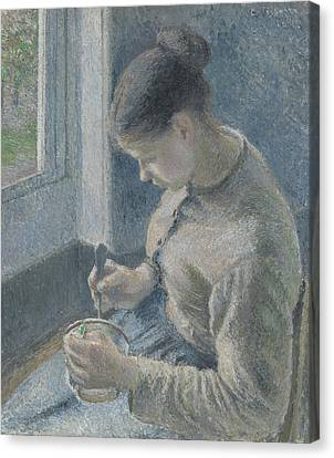 Young Peasant Having Her Coffee Canvas Print by Camille Pissarro
