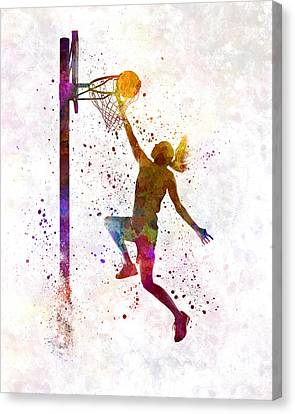 Young Woman Basketball Player 04 In Watercolor Canvas Print by Pablo Romero