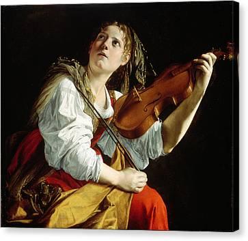 Young Woman With A Violin Canvas Print by Orazio Gentileschi