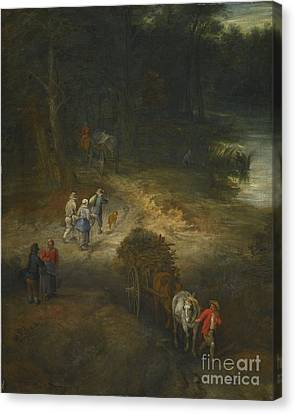 Younger A Wooded Landscape With Traveller Canvas Print by Jan Breughel