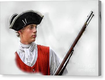 Youthful Soldier With Musket Canvas Print by Randy Steele