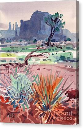 Yucca And Buttes Canvas Print by Donald Maier