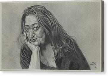 Zaha Hadid - Iraqi-british Architect - 1950 - 2016    Canvas Print by Daniil Yakubovich