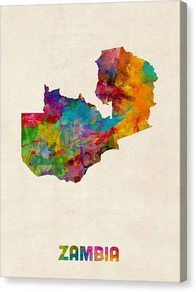 Zambia Watercolor Map Canvas Print by Michael Tompsett