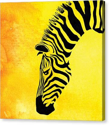 Zebra Animal Yellow Decorative Poster 8 - By  Diana Van Canvas Print by Diana Van