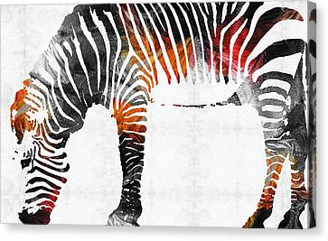 Zebra Black White And Red Orange By Sharon Cummings  Canvas Print by Sharon Cummings