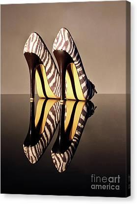 Zebra Print Stiletto Canvas Print by Terri Waters