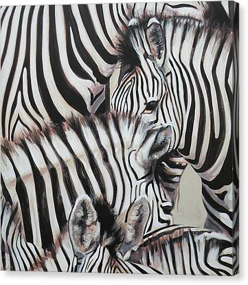 Zebra Triptyche Left Canvas Print by Leigh Banks