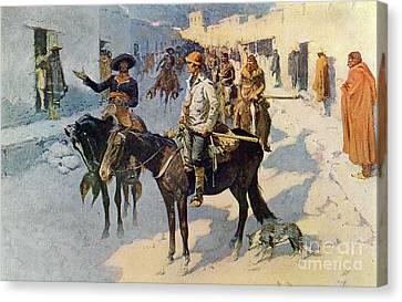 Zebulon Pike Entering Santa Fe Canvas Print by Frederic Remington