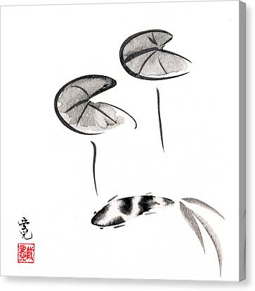 Zen Fish Painting Canvas Print by Oiyee At Oystudio