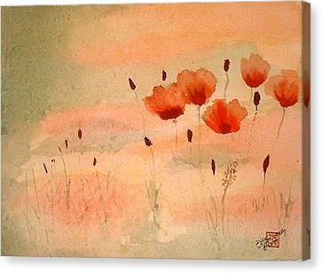 Zen Poppies Canvas Print by Arlene  Wright-Correll
