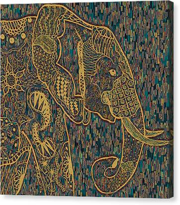 Zentangle Elephant-oil Gold Canvas Print by Becky Herrera