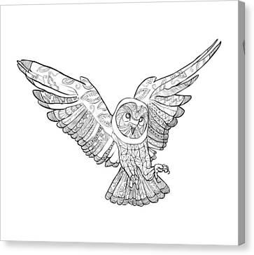Zentangle Owl In Flight Canvas Print by Cindy Elsharouni