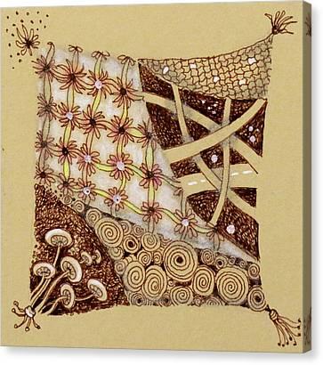 Zentangle  Web Of Life Canvas Print by Cecie McCaffery