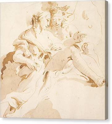 Zephyr And Flora Canvas Print by Tiepolo