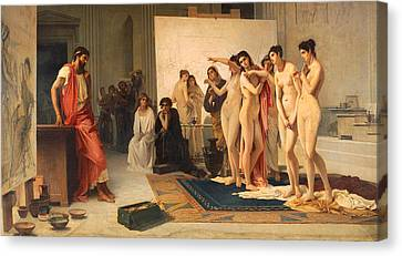 Zeuxis Choosing Five Young Women Canvas Print by Pietro Michis