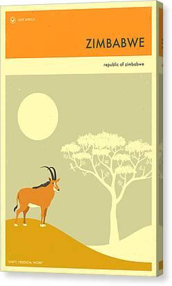 Zimbabwe Travel Poster Canvas Print by Jazzberry Blue