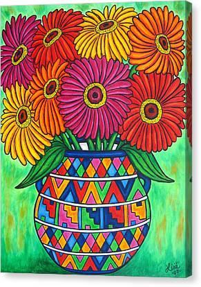 Zinnia Fiesta Canvas Print by Lisa  Lorenz