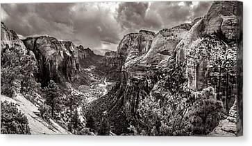 Zion Canyon Storm Black And White Canvas Print by Scott McGuire