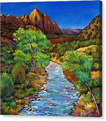 Colorado River Canvas Print featuring the painting Zion by Johnathan Harris