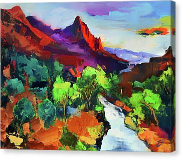 Zion - The Watchman And The Virgin River Vista Canvas Print by Elise Palmigiani