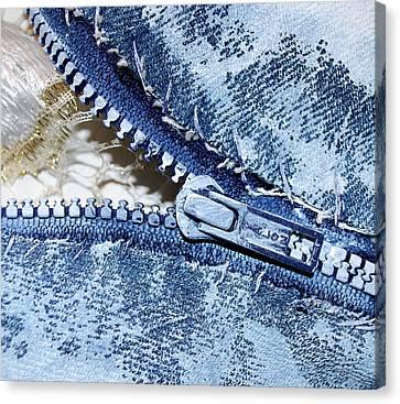 Zipper In Blue Canvas Print by Nancy Mueller