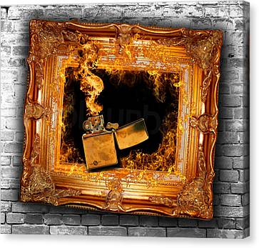Zippo Flames And Frame 1 Art For The Sake Of Canvas Print by Tony Rubino