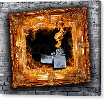 Zippo Flames And Frame 2 Art For The Sake Of Canvas Print by Tony Rubino