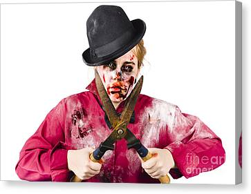 Zombie Gardener With Shears Canvas Print by Jorgo Photography - Wall Art Gallery