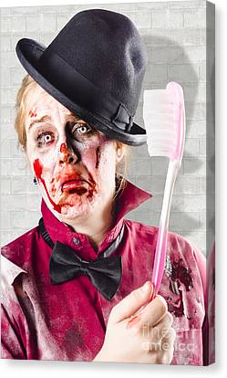 Zombie With Big Toothbrush. Fear Of The Dentist Canvas Print by Jorgo Photography - Wall Art Gallery