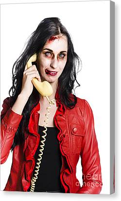 Zombie Woman On Telephone Canvas Print by Jorgo Photography - Wall Art Gallery