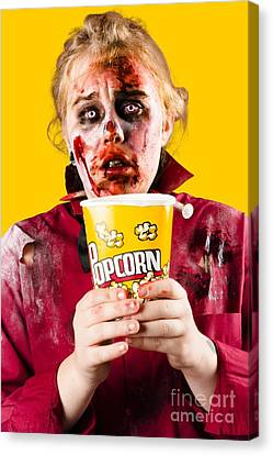 Zombie Woman Watching Scary Movie With Popcorn Canvas Print by Jorgo Photography - Wall Art Gallery