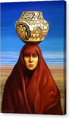 Zuni Woman Canvas Print by Jane Whiting Chrzanoska