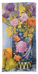 Iris And Pinks In A Japanese Vase With Pears Hand Towel by Joan Thewsey