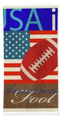 Usa Is American Football Hand Towel by Joost Hogervorst