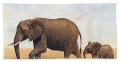 African Elephants Hand Towel by David Stribbling