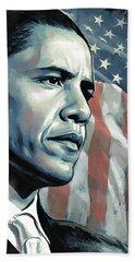 Barack Obama Artwork 2 Hand Towel by Sheraz A