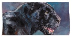 Black Panther Hand Towel by David Stribbling