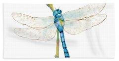 Blue Dragonfly Hand Towel by Amy Kirkpatrick