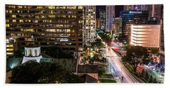 Brickell Ave Downtown Miami  Hand Towel by Michael Moriarty