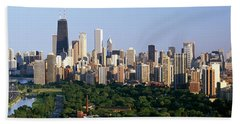 Buildings In A City, View Of Hancock Hand Towel by Panoramic Images