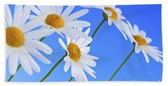 Daisy Flowers On Blue Background Hand Towel by Elena Elisseeva