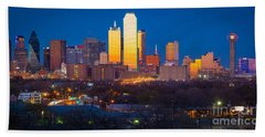 Dallas Skyline Hand Towel by Inge Johnsson