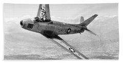Bath Towel featuring the photograph F-86 Sabre, First Swept-wing Fighter by Science Source