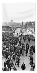 Fans Leaving Yankee Stadium. Hand Towel by Underwood Archives